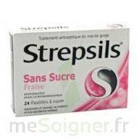 STREPSILS FRAISE SANS SUCRE, pastille édulcorée à l'isomalt, au maltitol et à la saccharine sodique à STRASBOURG